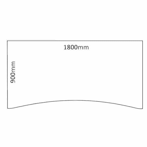 Bordplate 1800x900x25mm hvit med magebue
